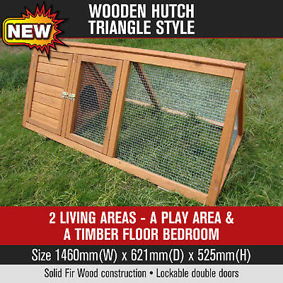 Wooden Triangle Hutch Chicken Coop Rabbit Ferret Cage Chook House Guinea Pig