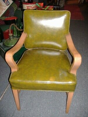 Heywood Wakefield Era Mid Century Modern Vinyl Arm Chair Vintage Antique STO