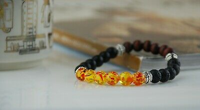 Men Women 8mm lava Stone Beads Bracelet Elastic Natural Stone shipping from USA