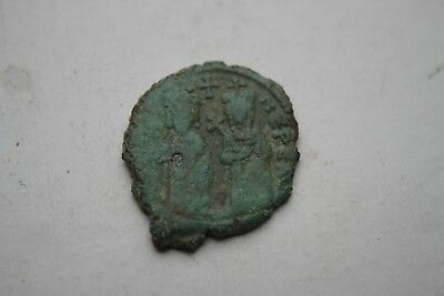 ANCIENT BYZANTINE PHOCAS BRONZE 1/2 FOLLIS COIN 7th CENTURY AD