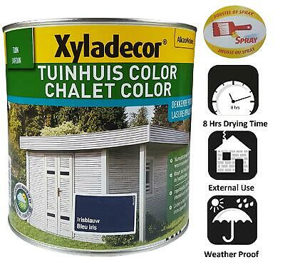 Waterproof Wood Fence Garden Shed Decking Stain Blue 2.5l Opaque Xyladecor