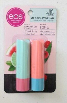 X2 Eos Lip Balm Sticks Watermelon, Fresh Mint, Lime & Martini, Raspberry, Fruit