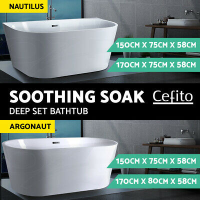 Cefito Free Standing Bath Tub Acrylic Gloss White DIY Bathroom SPA Tub 1.7/1.5M