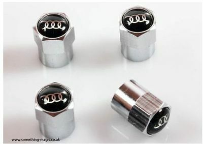 High Quality Chrome Metal AUDI RINGS Valve Caps Tyre Dust Caps