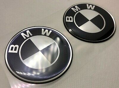 2pcs. BMW Round Logo 3D Domed Badge Sticker. Silver black. 50 mm.