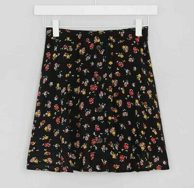 Girls BNWT Candy Couture Black Floral Ditsy Button Skater Skirt age 14 (QE563)