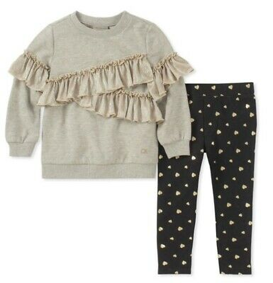 09807fa428b4 $55 Calvin Klein Girls 2Pc Gray Ruffled Top Gold Hearts Blk Leggings Set Sz  3T