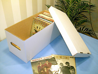 "7"" VINYL RECORD STORAGE BOXES x2 WITH LIDS!STRONG!DOUBLE WALL HOLDS 2OO SINGLES!"