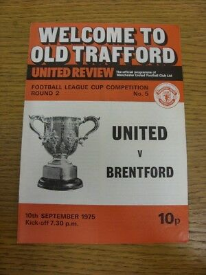10/09/1975 Manchester United v Brentford [Football League Cup] (writing on back)