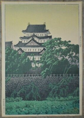 Vintage Original Kawase Hasui Signed & Numbered Japanese Woodblock Nagoya Castle