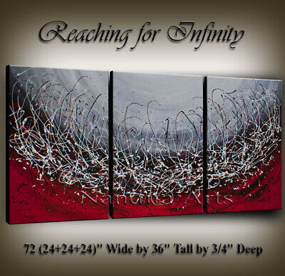 Red String Abstract Art, Painting on Canvas Original Artwork by Nandita Albright