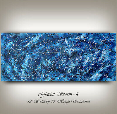 Blue Jackson Pollack Art Style Abstract Painting on Canvas, Home Decor Artwork