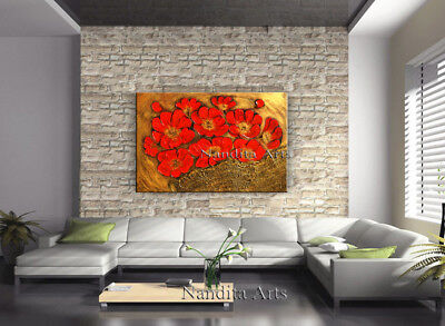 Framed Textured Flower Painting, Original Poppy Abstract Art Canvas by Nandita