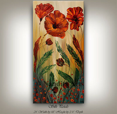 LARGE FLORAL Wall Decor Red Petals Original Artwork By Nandita Albright