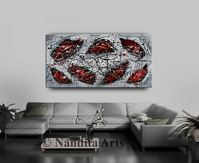 Red Abstract wall art decor artwork modern art for wedding gifts Framed