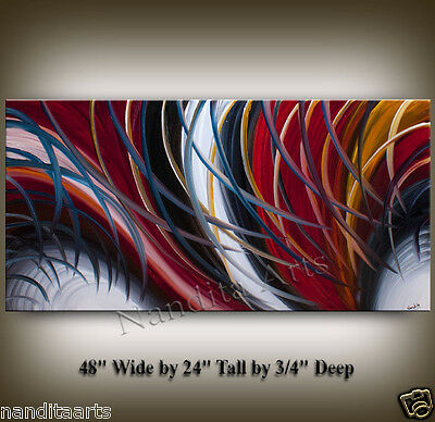 Oil Painting, Large Artwork Red White Black Abstract Wall Art Home Decor Gallery