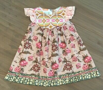 7c3d79b68f4 Matilda Jane Platinum Selma Flutter Dress 4 Pink Brown Flowers Floral HTF  RARE