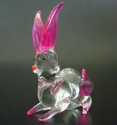 Curio Glass RABBIT HARE Easter Bunny Pink & Clear Glass Ornament Glass Animal