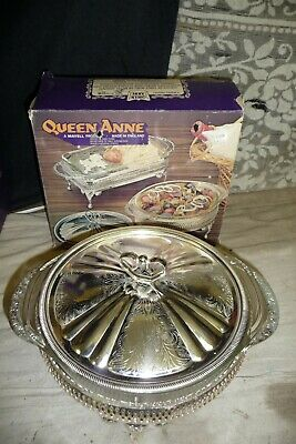 Silver plated tableware QUEEN ANNE holder + round oven to table serving dish NEW