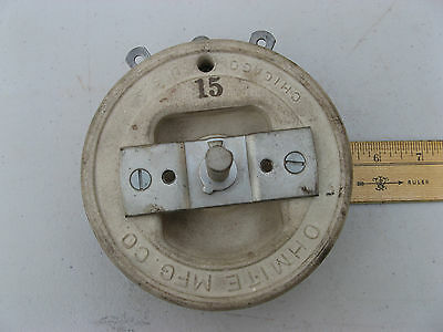 "OHMITE 5"" Model P VARIABLE RHEOSTAT 15 ohm 3.87 amps 600 volts VITREOUS CERAMIC"