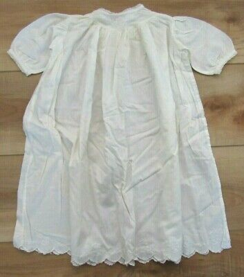 Antique Victorian Embroidered Christening Gown, Scalloped Hem, Baby, Doll Dress