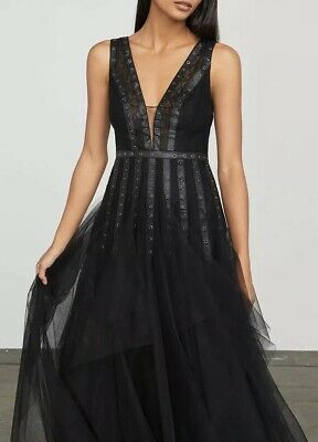 1b8508c2ac2c Bcbg Maxine Lace Grommet Gown Prom Size 4 S Small NWT Black Long Prom Dress  $598
