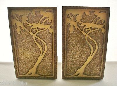 INCREDIBLE Arts Crafts SIGNED Silver Crest BRONZE PAIR BOOKENDS Art Nouveau FINE