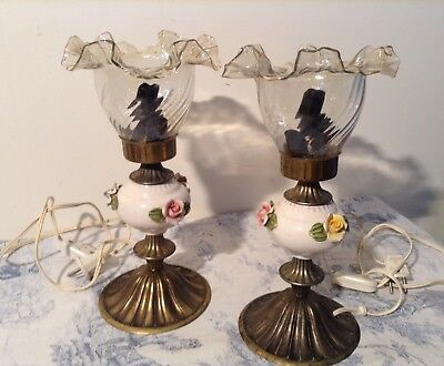 Pair French Vintage Table Lamps with Ceramic Flowers & Glass Shades (3197)