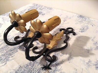 Vintage French Gold & Black Wrought Iron Wall Lights / Candle Sconces (3203)
