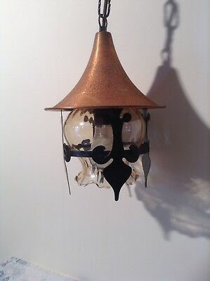 Vintage French Gothic Lantern Ceiling Light with Copper Metal Hood (2927)