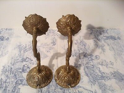 Pair Vintage French Bronze Rococo Wall Lights / Candle Sconces (2213)
