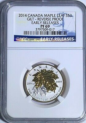 2014 Ngc Pf69 $3 Canada Silver Maple Leaf Gold Gilt Reverse Proof Early Release