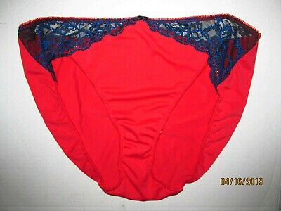 bb46ab6d617f Vintage New Cacique Red Nylon Silky Lace Hi Cut Sissy Bikini Panties Sz. 14/