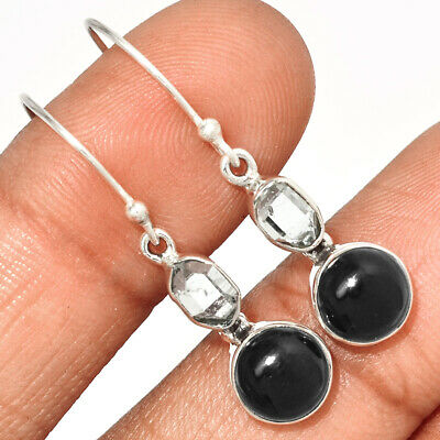 Brazil 925 Sterling Silver Earrings Jewelry Ae47781 87o Black Onyx Artisan