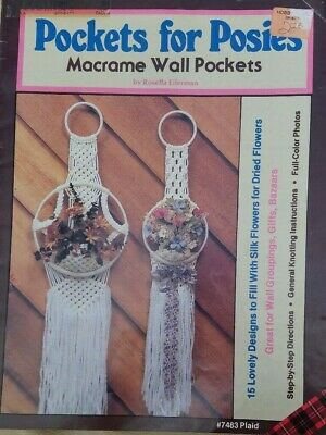 Vintage MACRAME Pockets for Posies Wall Pockets Pattern Instruction Book 1981