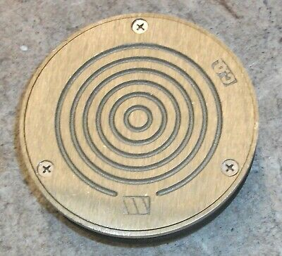 """Sewer Solid Brass Threaded Cleanout Cover 4"""" Npsm Floor Drain Approx 5-3/4"""" Dia"""