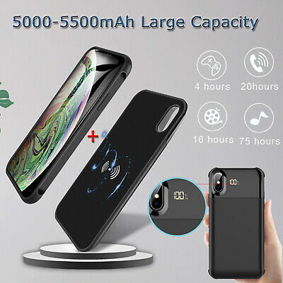 For iPhone XS Max/XR/X Wireless Charging Battery Power Bank Backup Charger Case