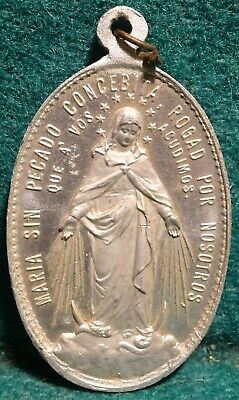 VIRGIN MARY / SACRED HEARTS - MIRACULOUS MEDAL Old LG ALUM MEDAL 41mm