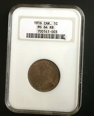 Canadian Large 1 Cent Coin NGC MS 64 RB