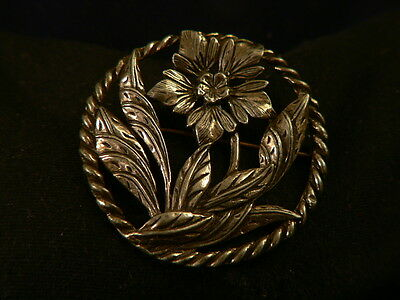 PIN BROOCH Antique AMERICAN ARTS & CRAFTS GATSBY ERA Handmade FLOWER Art Nouveau