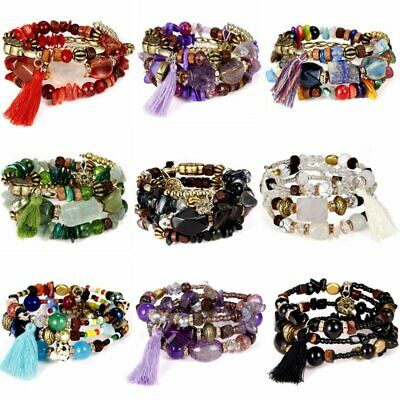 Fashion Boho Multilayer Natural Stone Crystal Bangle Beaded Bracelet Jewelry New