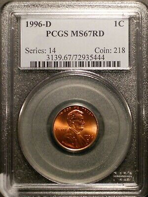 1996-D  Lincoln Cent PCGS MS67 Red #5444 Free Shipping!