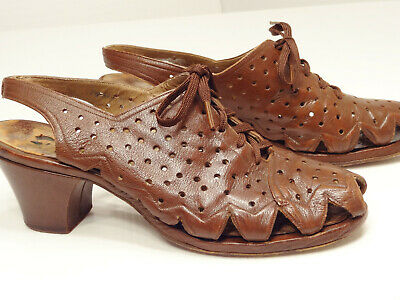 Vtg 30s/40s Missoula Mercantile Leather Perforated Peep-Toe Swing Laceup Sandals