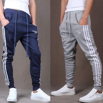 UK Mens Sport Gym Pants Slim Fit Running Jogging Casual Long Trousers Sweatpants