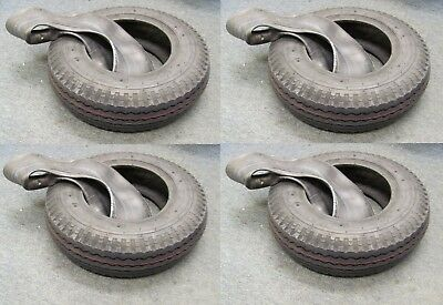 FOUR TYRES 4.80 / 4.00-8 TRAILER TYRE AND TUBE MAX LOAD 335kg 6PLY TYRE 400 X 8