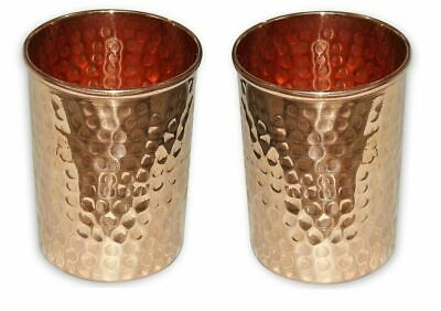 100% Copper Hammered Tumbler Mug 200 Ml Drinking Water Glass Indian 2 PC Cup Set