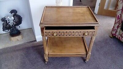 Vintage oak hostess tea trolley with shelf and drawer (old charm?)