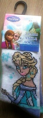 Disney Frozen Elsa & Anna Girls Socks. 2/TWIN PACK  Size UK 12.5 - 3.5/EUR 31-36