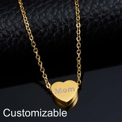 Personalized Engraved Custom Name Stainless Steel Heart Chain Pendant Necklace