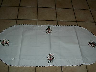 """VINTAGE NEEDLEPOINT EMBROIDERY TABLE CLOTH RUNNER SIZE 17 """" x 38""""  INCH NEW L@@K"""